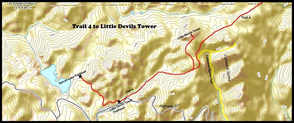 Trail Route to Little Devils Tower