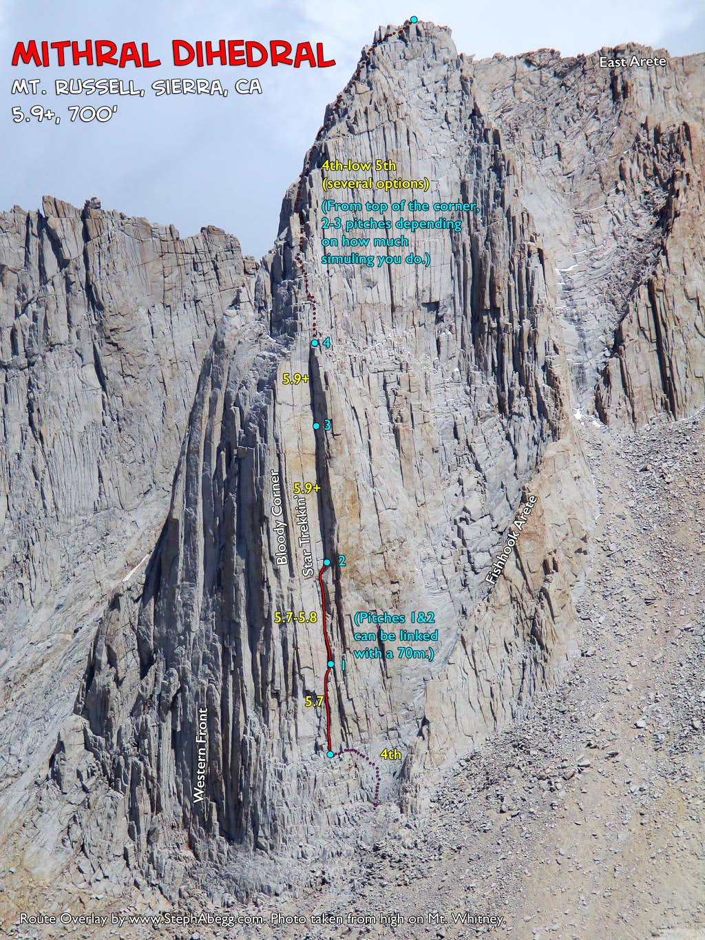 Route Overlay Mithral Dihedral on Mt. Russell