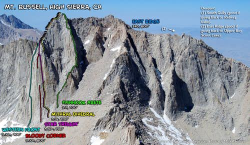 Russell (Mithral Dihedral & Western Front) and Whitney (East Buttress and East Face)
