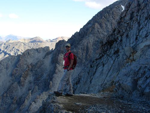 David on trail past Chicken-Out Ridge