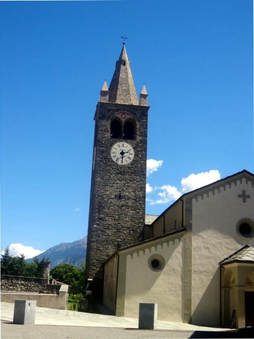 Aosta Town / B-bis Etollin Church with Bell Tower 2015