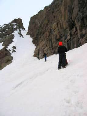 Looking up Eolus\' East Couloir