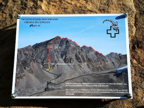 Croda di Cengles routes signboard at the start of climbing
