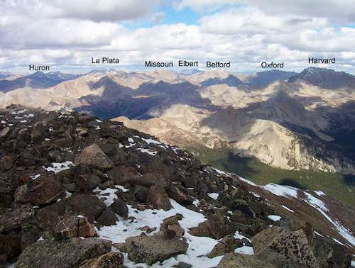 Seven fourteeners are visible...