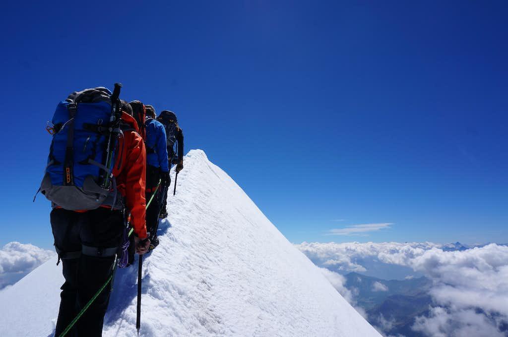 On the summit ridge of Castor (13864 ft / 4226 m)