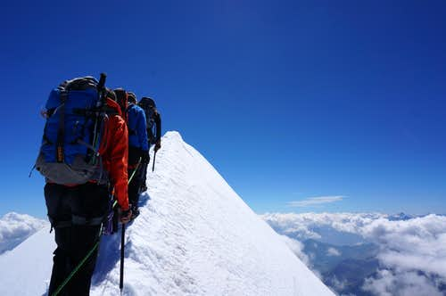 On the summit ridge of Castor (13864 ft / 4226 m)