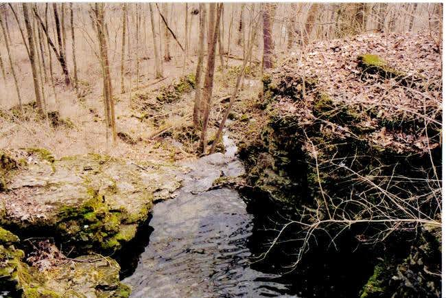 Small waterfall. The stream...