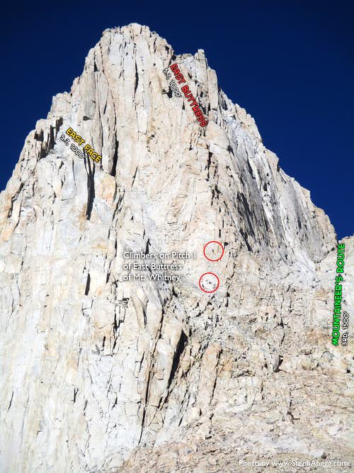 Beta photo: Climbers on the first pitch of East Buttress of Mt. Whitney
