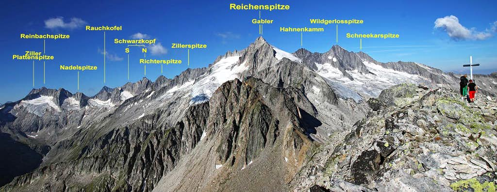 Reichenspitze group from Rosskopf (annotated)