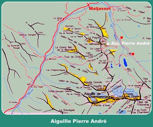 Aiguille Pierre André map