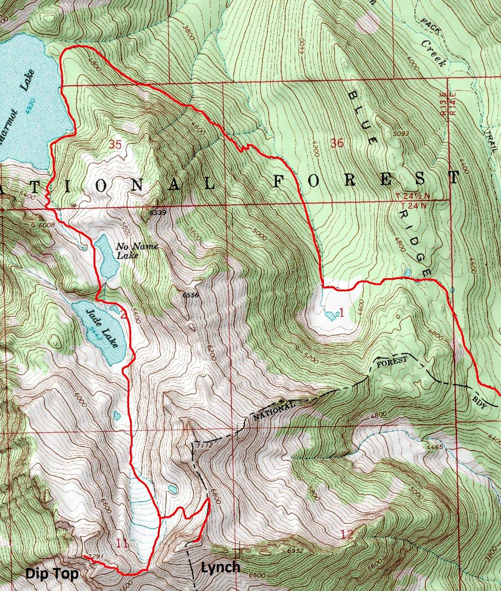 Dip Top / Lynch Routes Map