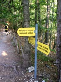 Signs on the E4 trail