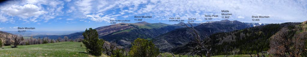 Annotated Panorama from the shoulder of Whiskey Mtn; approx. 10,000'