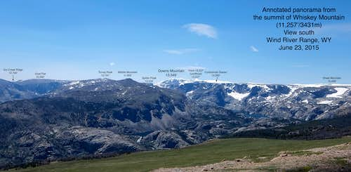 Annotated Panorama from the summit of Whiskey Mtn; elevation 11,257'