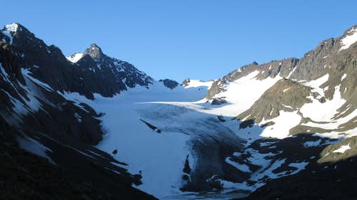 The Flute Glacier from the slopes of Eagle Peak