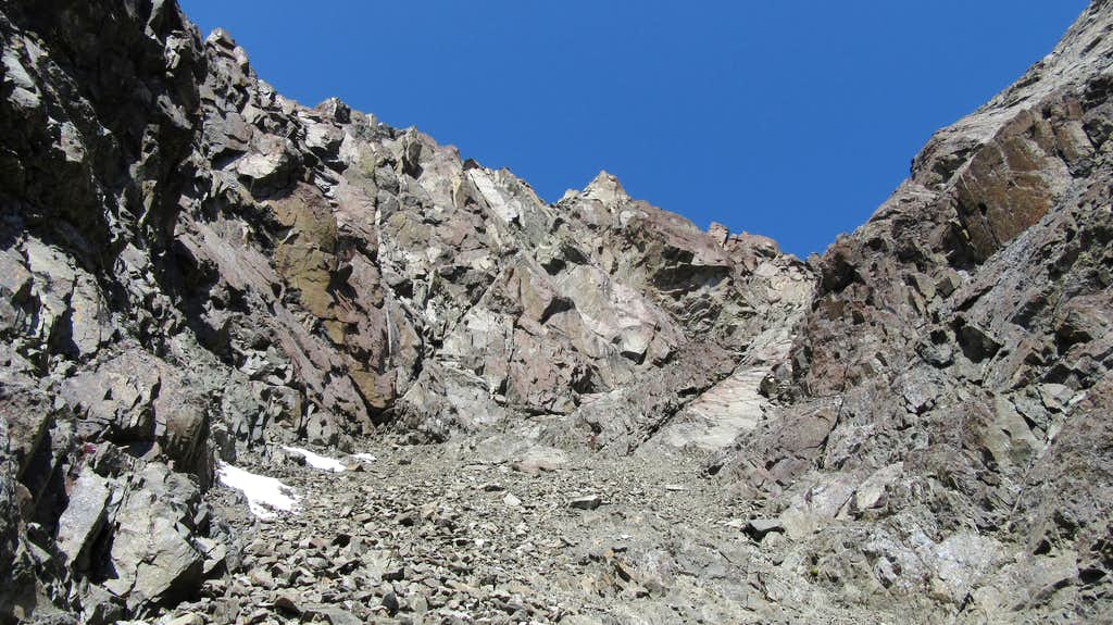Looking up the steep gully on Eagle Peak
