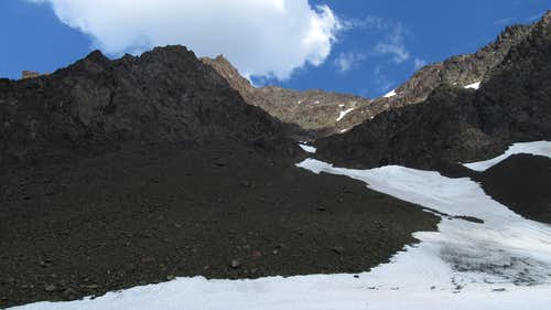 The scree field leading to the waterfall on Eagle Peak
