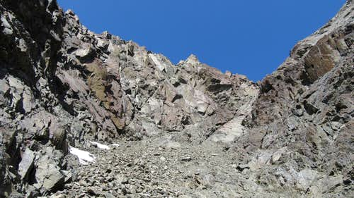 Looking up the upper gully
