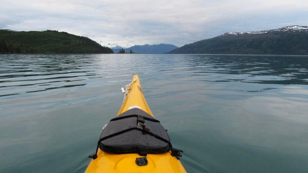 Kayaking back to Willard Island