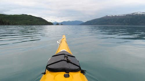 Kayaking back to Willard Island