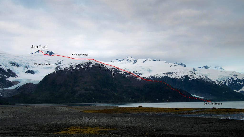 Jatt Peak route topo from Willard Island