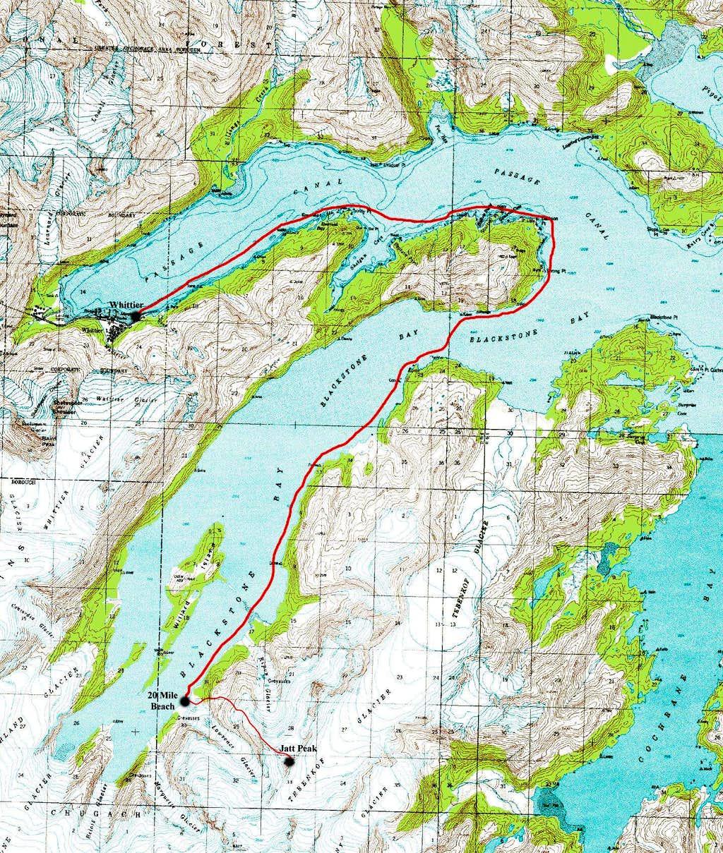 Blackstone Bay and Jatt Peak Topo Map