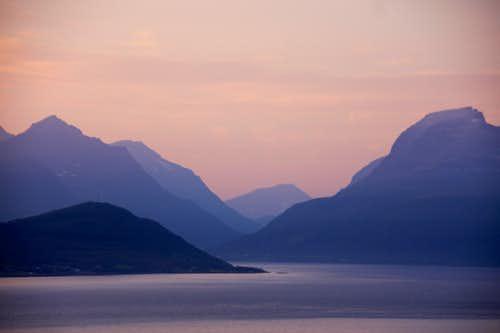 Sunset and the peaks of Lavangsdalen