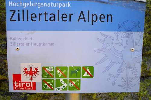 Zillertal Alps Natural Park signpost