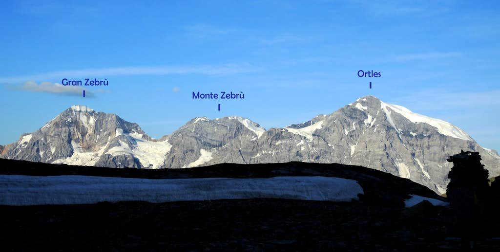 Ortles group annotated seen from Valle Zai