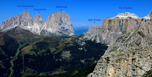 Summit of Sass Becè annotated panorama
