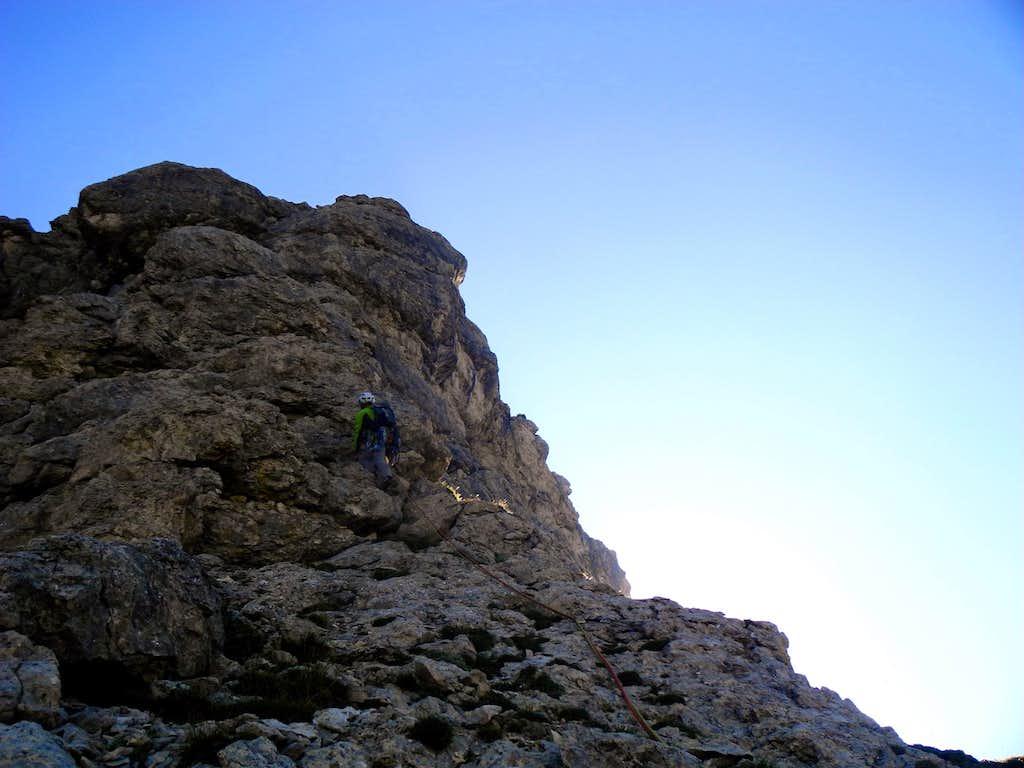 Climb on W Ridge, Sass Becè