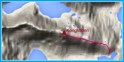 Kongstinden standard route map