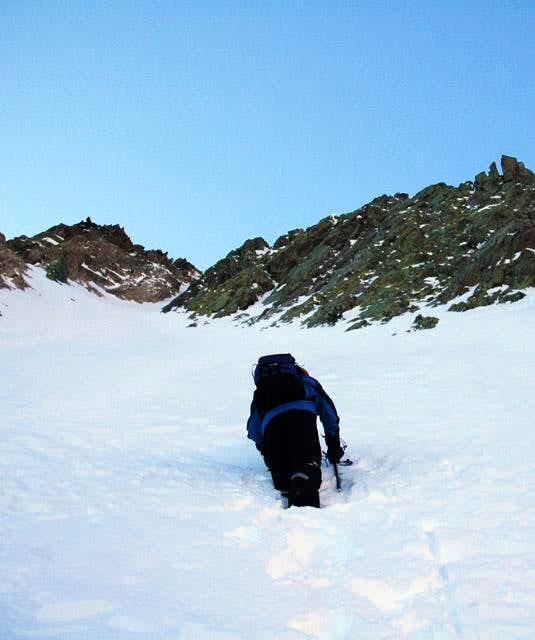 Mike Boyer ascending a gully...