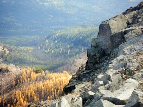 Larches and cliffs