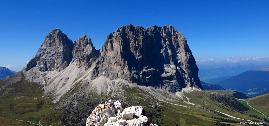 Sassolungo group seen from the summit of II Torre del Sellatop