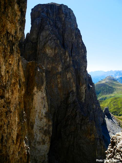 Stunning Second Sella Tower North Face seen from top of Fourth Sella Tower