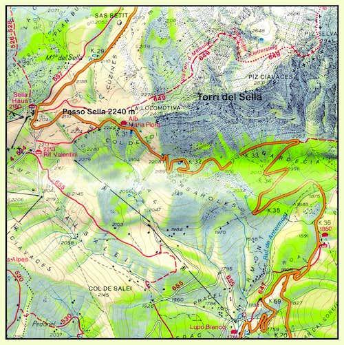 Sella Towers map