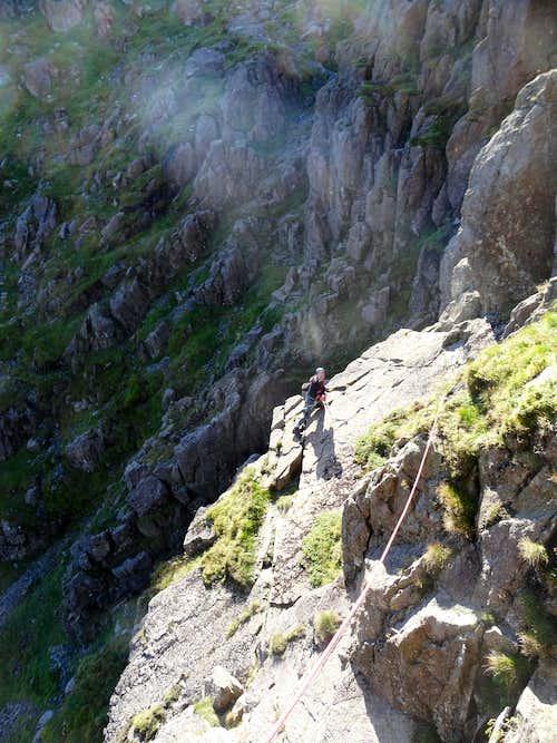 Crossing the slab on Slab & Notch Pillar Rock