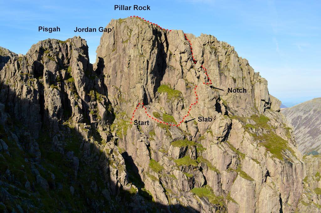 Slab & Notch route Pillar Rock