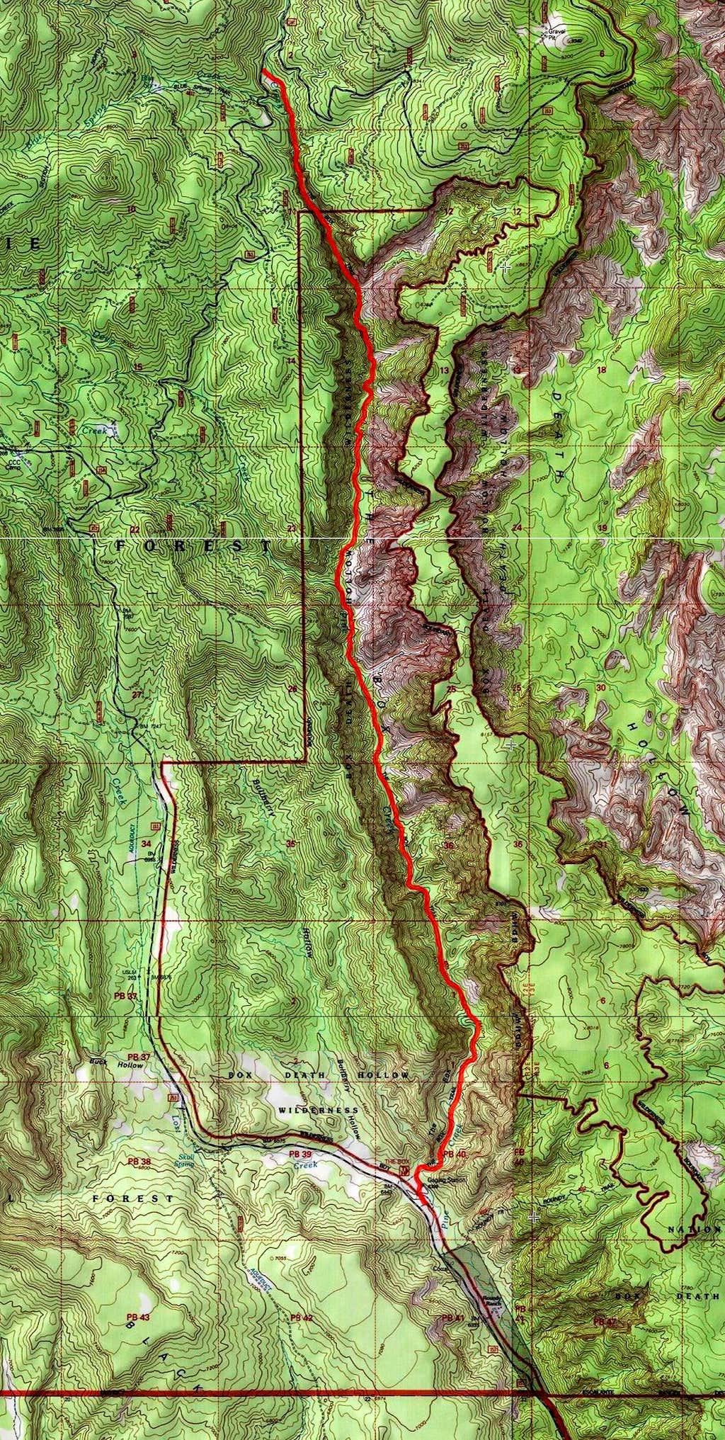 Pine Creek Canyon Map