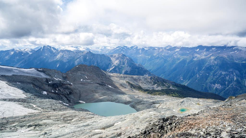 Looking down on a few glacial lakes from an unnamed 2800m peak.