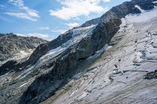 A crevasse-filled glacier