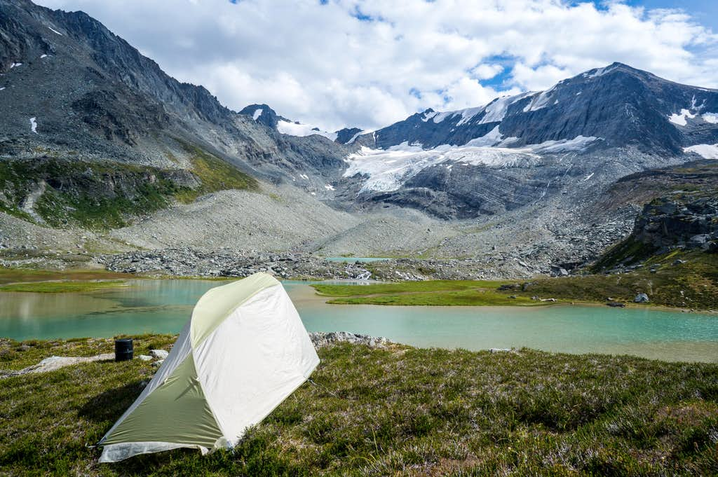 Setting up camp in front of another unnamed lake.
