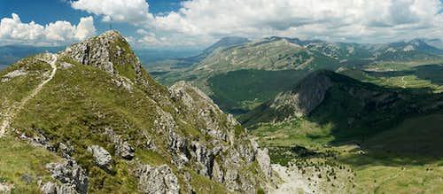 Looking across Serra di Celano to Monte Velino
