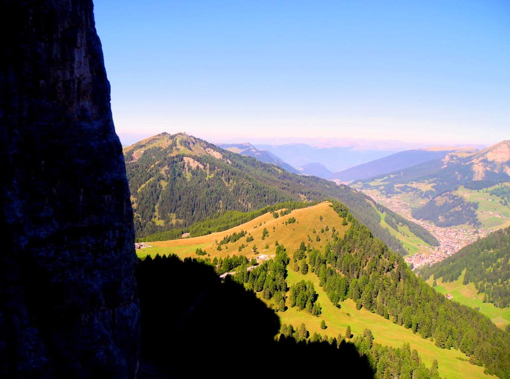 Panorama to Val Gardena seen from Torre Orientale Meisules Biesces