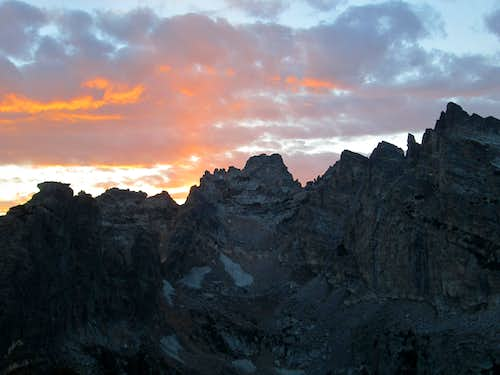 The Jaw and Hanging Canyon seen from the top of Symmetry Spire at sundown, Teton Range, WY