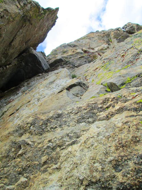 The chimney on pitch 4, near the summit of the Southwest Ridge(YDS 5.7) of Symmetry Spire, Teton Range, WY