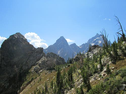 Teewinot, Mount Owen and The Grand Teton seen from the base of the Southwest Ridge of Symmetry Spire, Teton Range, WY