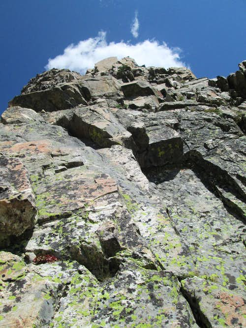 Looking up at the first pitch of the Southwest Ridge(YDS 5.7) of Symmetry Spire, Teton Range, WY