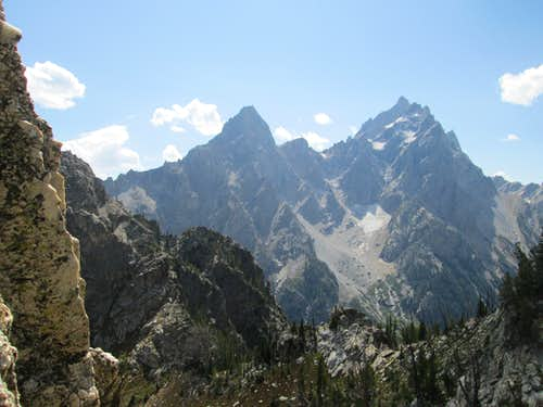 Teewinot, Mount Owen and The Grand Teton seen from the base of pitch 2 of the Southwest Ridge(YDS 5.7) of Symmetry Spire, Teton Range, WY